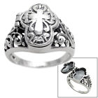 925 Sterling Silver Ladies' Cross Poison Ring w/ Floral setting Sz 5-9