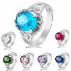 Gift Lady Oval Cut Fashion Jewellery 18K Gold Plated Blue Sapphire Lady Ring 6