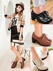 Womens Ladies Lace Up Mid Block Heel Oxford Brogue Shoes Black/White/Brown V8