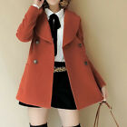 Women Slim Double Breasted Suit Collar Long Sleeve Pea Coat Jacket   [HA]