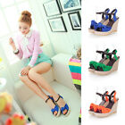 Womens Ladies Summer Knotted Tie Ankle Strap Espadrille Wedge Sandals Shoes Q16