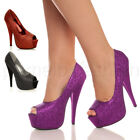 WOMENS LADIES WEDDING PROM PLATFORM PUMPS HIGH HEEL PARTY COURT SHOES SIZE