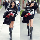 Girls Letter Print Long Sleeve  Thicken Loose Sweatshirt   Pullover Blouse