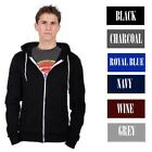 Mens Fleece Zip Up Hoodie Plain Sweatshirt Hooded Long Sleeve Top Sports Jumper