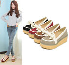 Womens Ladies Spring New Faux Suede Round Toe Bowtie Platform Loafers Shoes Z109