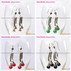 Fashion 8mm round beads tibetan silver dangle earrings 1 pair Seed_beauty