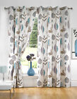 Printed Retro Leaves Ready Made Fully Lined Eyelet Curtains