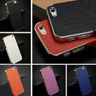 Hot Frame Luxury Leather Chrome Hard Back Case For iPhone 5 5G 5S