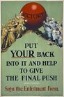WA115 Vintage WW1 British Put Your Back In To It Enlist War Poster A1/A2/A3/A4
