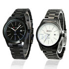 New Classic Simple Black Men Stainless Steel Band Date Clock Quartz Wrist Watch