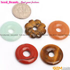 20mm donut ring / flower gemstone pendant beads 1pc , 4 materials selectable