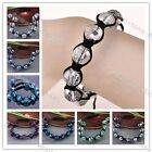 Woven Faceted Crystal Disco Ball Macrame Bracelet 96-Cut Beads Hip Hop Jewelry