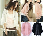 New Lady Crochet Knit Shawl Batwing sleeve Hollow Out Shrug Cardigan Top Sweater