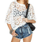 "Floral Print See Through Women""s Crewneck 3/4 Sleeve Chiffon Tops Blouse  [HA]"