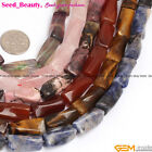 "9x20mm mixed twist column gemstone jewelry making loose beads 15"" ,13 materials"