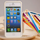 Fashion New White Frame TPU Bumper Side Metal Button Case Cover for iPhone 5 5G