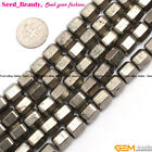 """8x10mm faceted column silver gray pyrite gemstone jewelry making loose beads 15"""""""