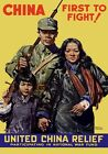 WB32 Vintage WW2 China First To Fight War Relief Fund WWII Poster A2/A3/A4