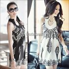 Women Floral Bohemia Classic Vintage Stand Collar Off Shoulder Sexy Mini Dress T