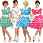 1950s Day Tea Fancy Dress Polka Dots Womens Rock and Roll Ladies Dance Costume