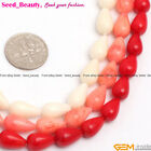 7x12mm teardrop white / red / pink coral jewelry making loose beads strand 15""