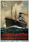 TX265 Vintage American Line Hamburg-New York Cruise Ship Travel Poster A2/A3/A4
