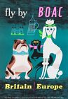 TX281 Vintage Britain Europe Dogs Airways Airline Travel Poster RePrint A2/A3/A4