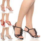 WOMENS LADIES EVENING WEDDING PLATFORM FLOWER DIAMANTE STRAPPY SANDALS SIZE