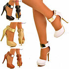 NEW Ladies Womens Plain Metal Gold Ankle Strap High Heel Sandals Shoe Pumps Size