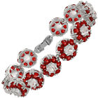 Rhinestone Round Cut Flower Cubic Zirconia Tennis Statement Fashion Bracelet