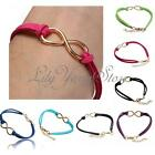 Charm Handmade Korea Gold Plated Infinity Friendship Leather Bracelet Bangle