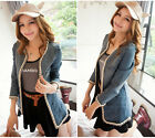 Casual Bounce Chains Cool Fashion XXL Long Denim Jacket Women Jean Coat NY69