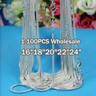 Not!1-100PCS Wholesale Specials Lady/Mens925 Silver Necklace Chain +Gift Box
