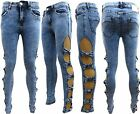 LADIES BOW CUTOUT SIDE RIPPED SKINNY ACID WASH DENIM JEANS SIZE 6 - 14