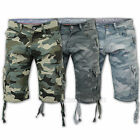 Mens Crosshatch Camouflage Shorts Cargo Combat Knee Length Jeans Military Summer