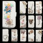 New Bling Rhinestone Flip Wallet PU Leather Stand Case Cover For iPhone Samsung