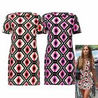WOMENS LADIES CELEB LUCY WATSON TRIBAL AZTEC SCOOP NECK MINI SHIFT TUNIC DRESS