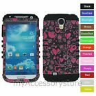Pink Hearts Hybrid Rugged Protector Phone Case Cover for Samsung Galaxy S 4 IV