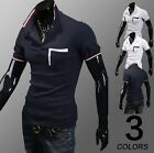 Mens Stylish Solid Boys Slim Short Sleeves Casual T-shirt Polo Shirts Tee Tops