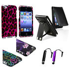 Leopard/Leather/Flower/Peace Bling Rainbow Case for iPod Touch 4G+Free 3.5mm Pen