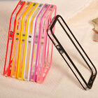 New Frame Clear TPU Bumper Metal Button Hard Back Case Cover for iPhone 5 5S 5G