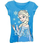Disney Frozen Girls Turquoise Blue Elsa Snow Queen Short  Sleeve Tee Shirt XS S