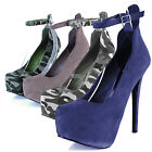 Women Fashion High Heel Round Toe Ankle Strappy Platform Sandal Pump Shoes