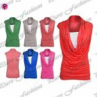 Womens Ladies Ruched Gathered Cowl Neck Vest Sleeveless Jersey T Shirt Tank Top