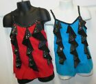 NWT Dance Costume Camisole Top w/ Hologram Dots Red or Turquoise Girls Sizes