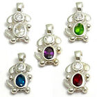 925 Sterling Silver Dog Oval Birthstone CZ Pendant Charm (Choose Any Month)