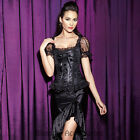 CC63 Black Brocade Victorian Bustier Boned Corset Party Top Blouse Cap Sleeves
