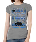 Womens California Republic Blue Tribal Pattern Black T-Shirt