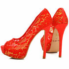 NEW Ladies Gold Red Lace Floral Stiletto Peep Toe Heels Shoes Evening Pump Size