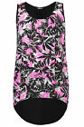 Yoursclothing Womens Plus Size Tropical Print Vest Top With Dipped Hem